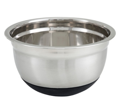 Winco MXRU-500 5-qt German Mixing Bowl w/ Mirror Finish Stainless, Non-Slip Silicon Base