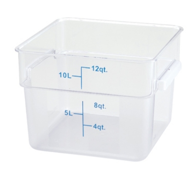Winco PCSC-12C 12-qt Square Storage Container, Polycarbonate, Clear
