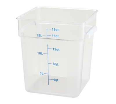 Winco PCSC-18C 18-qt Square Storage Container, Polycarbonate, Clea
