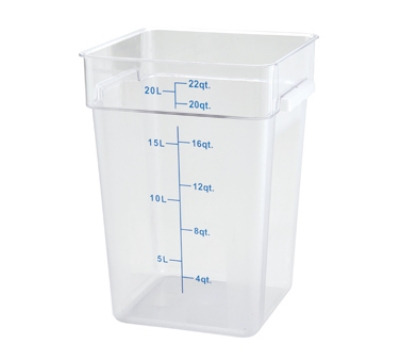 Winco PCSC-22C 22-qt Square Storage Container, Polycarbonate, Clear