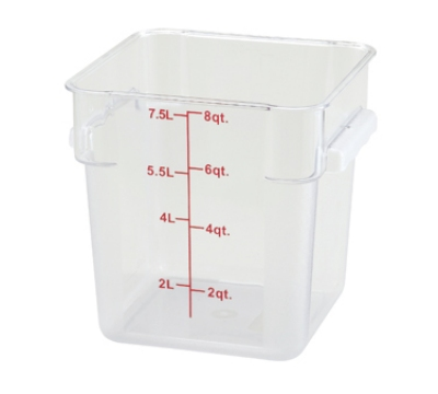 Winco PCSC-8C 8-qt Square Storage Container, Polycarbonate, Clear