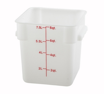 Winco PESC-8 8-qt Square Storage Container, Polyethylene, White