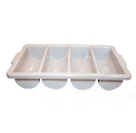Winco PL-4B 4-Compartment Cutlery Bin