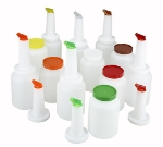 Winco PPB2MX 2-qt Liquor & Juice Multi Pour Set w/ Assorted Color Spouts & Lids