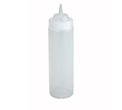 Winco PSW-24 24-oz Plastic Squeeze Bottle, Wide Mouth, Clear