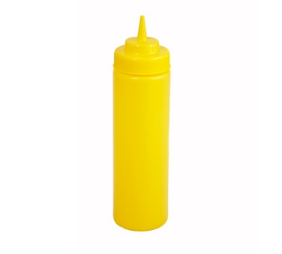 Winco PSW-24Y 24-oz Plastic Squeeze Bottle, Wide Mouth, Yellow