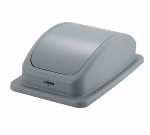 Winco PTCL-23 Rectangle Dome Trash Can Lid - Plastic, Gray