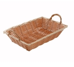 Winco PWBN-12B Oblong Woven Basket w/ Handle, 12 x 8 x 3-in, Poly, Natural