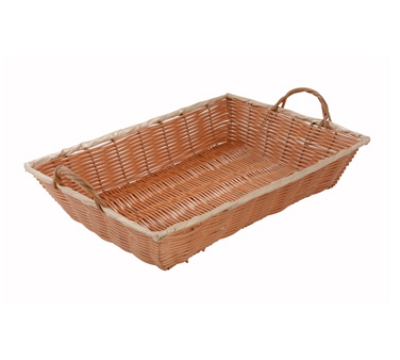 Winco PWBN-16B Oblong Woven Basket w/ Handle, 16 x 11 x 3-in, Poly, Natural