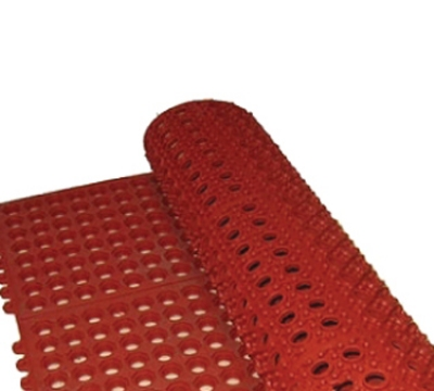 Winco RBMI-33R Rubber Floor Mat, Anti-Fatigue, Interlocking, 3 x 3-ft x .5-in, Red