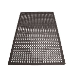 Winco RBM-35K Anti-Fatigue Floor Mat w/ Beveled Edges, Rubber, 3 x 5 x .5-in, Black