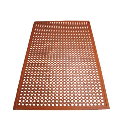 Winco RBM-35R Grease Proof Floor Mat w/ Beveled Edges, Rubber, 3 x 5 x .5-in, Red