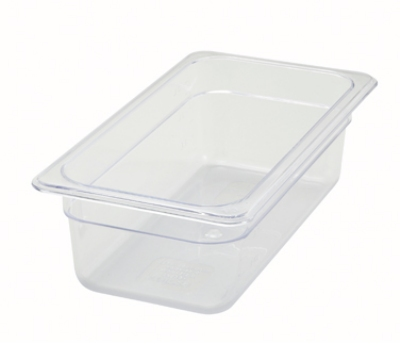 "Winco SP7304 1/3-Size Food Pan, 4"" Deep, Break Resistant Polycarbonate"