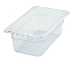 "Winco SP7404 1/4-Size Food Pan, 4"" Deep, Break Resistant Polycarbonate"