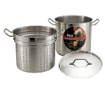 Winco SSDB-12S 12-qt Master Cook Steamer Pasta Cooker w/ Cover, Stainless