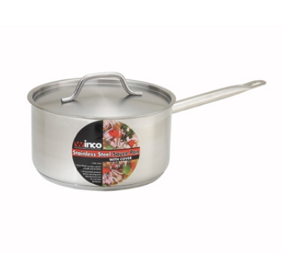 Winco SSSP-3 3.5-qt Saucepan w/ Cover - Induction Compatible, 18/8 Stainless