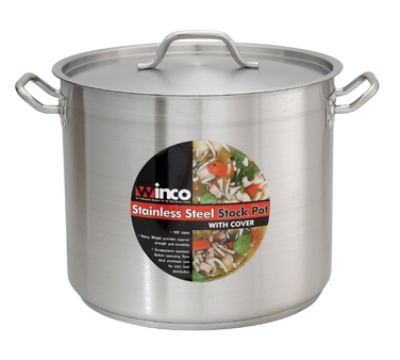 Winco SST32 32-qt Stock Pot w/ Cover - Induction Compatible, 18/8-Stainless