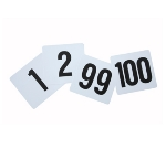 "Winco TBN-100 Tabletop Number Cards - #1-100, 4"" x 3.75"", White/Black"