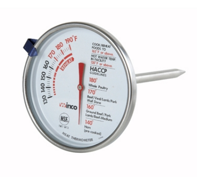 "Winco TMT-MT3 3"" Dial Type Meat Thermometer w/ Stem, Temp Range 130 to 190-f"