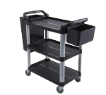 Winco UC-40K 3-Level Polymer Utility Cart w/ Raised Ledges