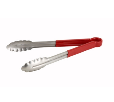 Winco UT-9HP-R 9-in Utility Tong w/ Red Plastic Handle & Scalloped Edge
