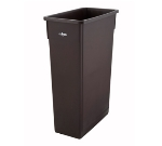 "Winco PTC-23B 23-gal Rectangle Slim Trash Can, 19.9""L x 11""W x 29.5""H, Brown"