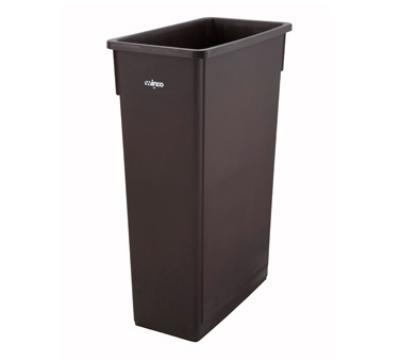 "Winco PTC-23B 23-gal Rectangle Slim Trash Can, 19.9""L x 11""W x 29.5""H, Brown"