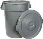 Winco PTCL-32 Round Flat Trash Can Lid - Plastic, Gray