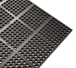 Winco RBMI-33K Rubber Floor Mat, Anti-Fatigue, Interlocking, 3 x 3-ft x .5-in, Black
