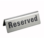 "Winco RVS-4 ""Reserved"" Table Tent Sign - 4.75"" x 1.75"", Stainless"