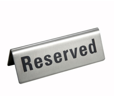 Winco RVS-4 RESERVED Sign - 4.75x1.75""