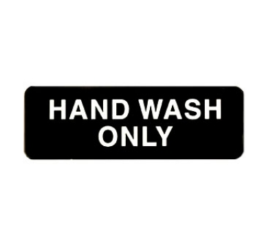 "Winco SGN-303 Information HAND WASH ONLY Sign w/ Symbol, 3 x 9"", Black"