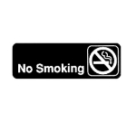 "Winco SGN-310 Information NO SMOKING Sign w/ Symbol, 3 x 9"", Black"