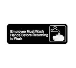 "Winco SGN-322 EMPLOYEES MUST WASH HANDS BEFORE RETURNING TO WORK Sign, Symbol, 3 x 9"", Black"