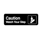 "Winco SGN-326 Information CAUTION/WATCH YOUR STEP Sign w/ Symbol, 3 x 9"", Black"