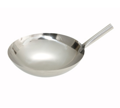 "Winco WOK-14N 14"" Chinese Wok, 1mm Thick, Riveted Joint, Mirror Finish, Stainless"