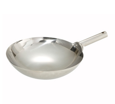 Winco WOK-14W 14-in Chinese Wok, 1mm Thick, Welded Joint, Mirror Finish, Stainless