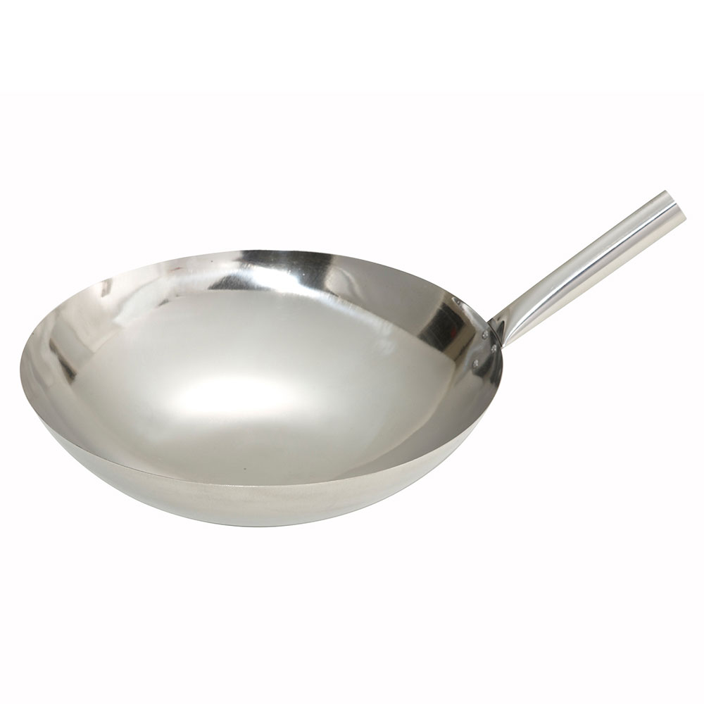 "Winco WOK-14N 14"" Stainless Stir Fry Pan"