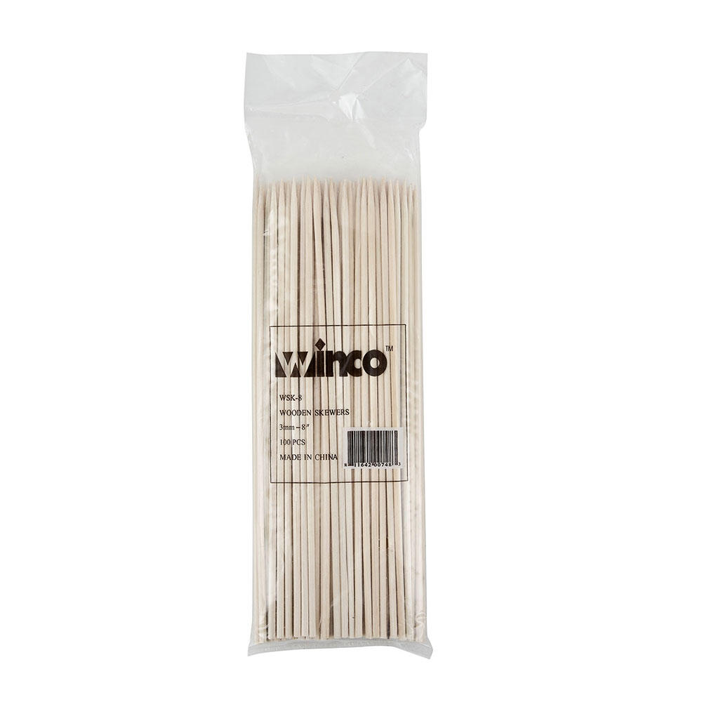 "Winco WSK-08 8"" Bamboo Skewers"