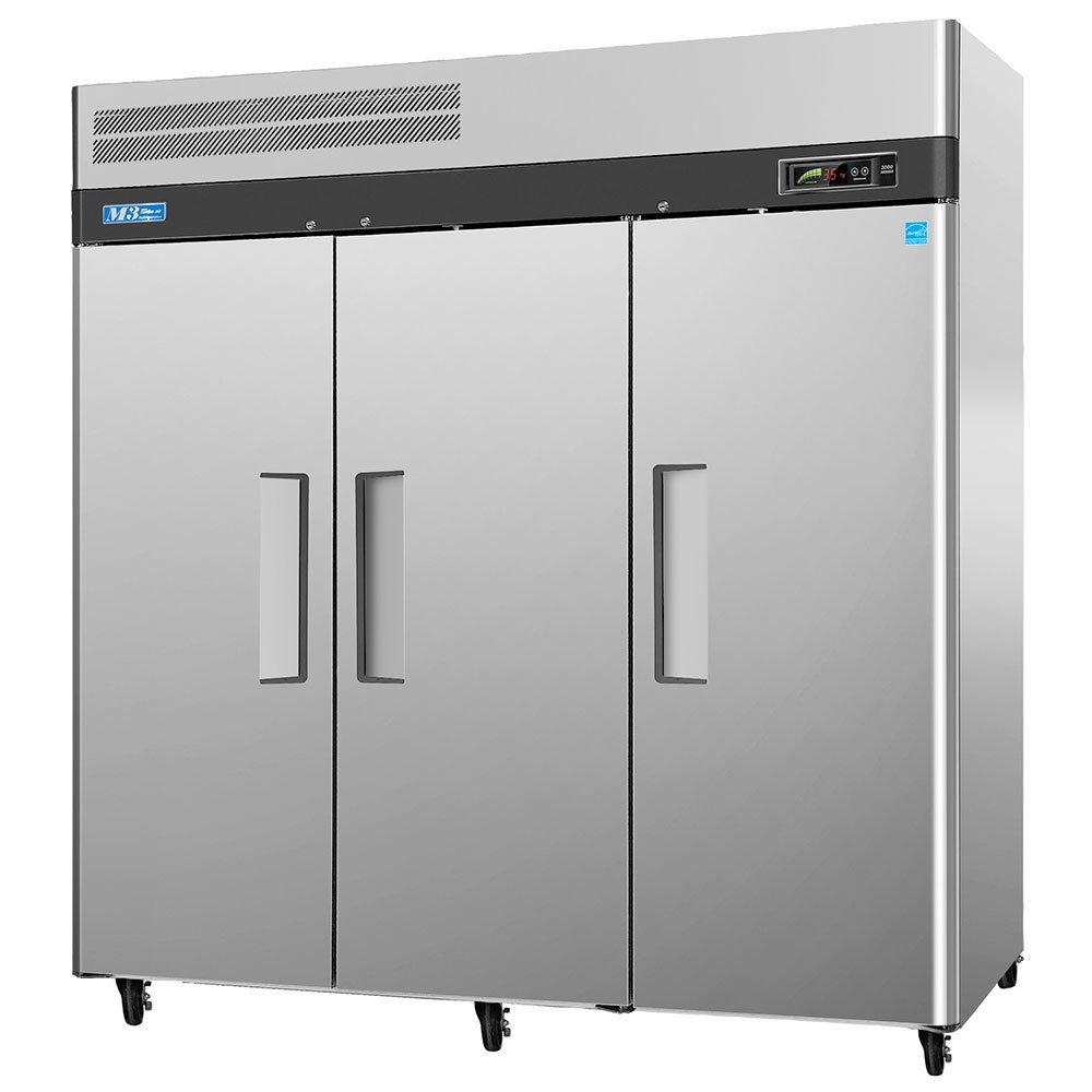 "Turbo Air M3F72-3 78"" Three Section Reach-In Freezer,(3) Solid Doors, 115v"