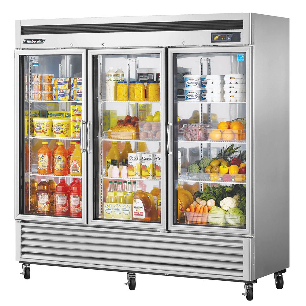 "Turbo Air MSR-72G-3 81"" Three Section Reach-In Refrigerator, (3) Glass Door, 115v"