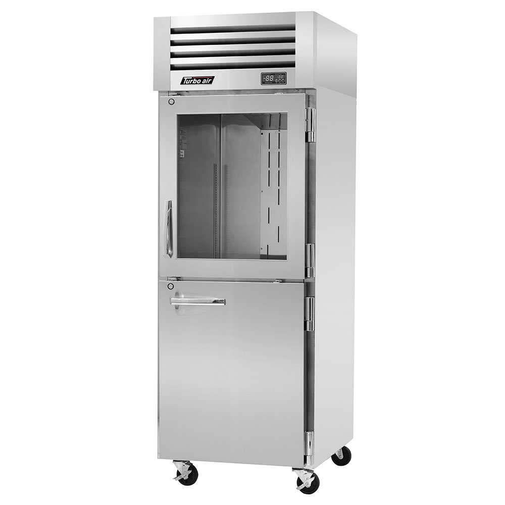 "Turbo Air PRO-26R-GSH 28.75"" Single Section Reach-In Refrigerator, (1) Solid Door & (1) Glass Door, 115v"