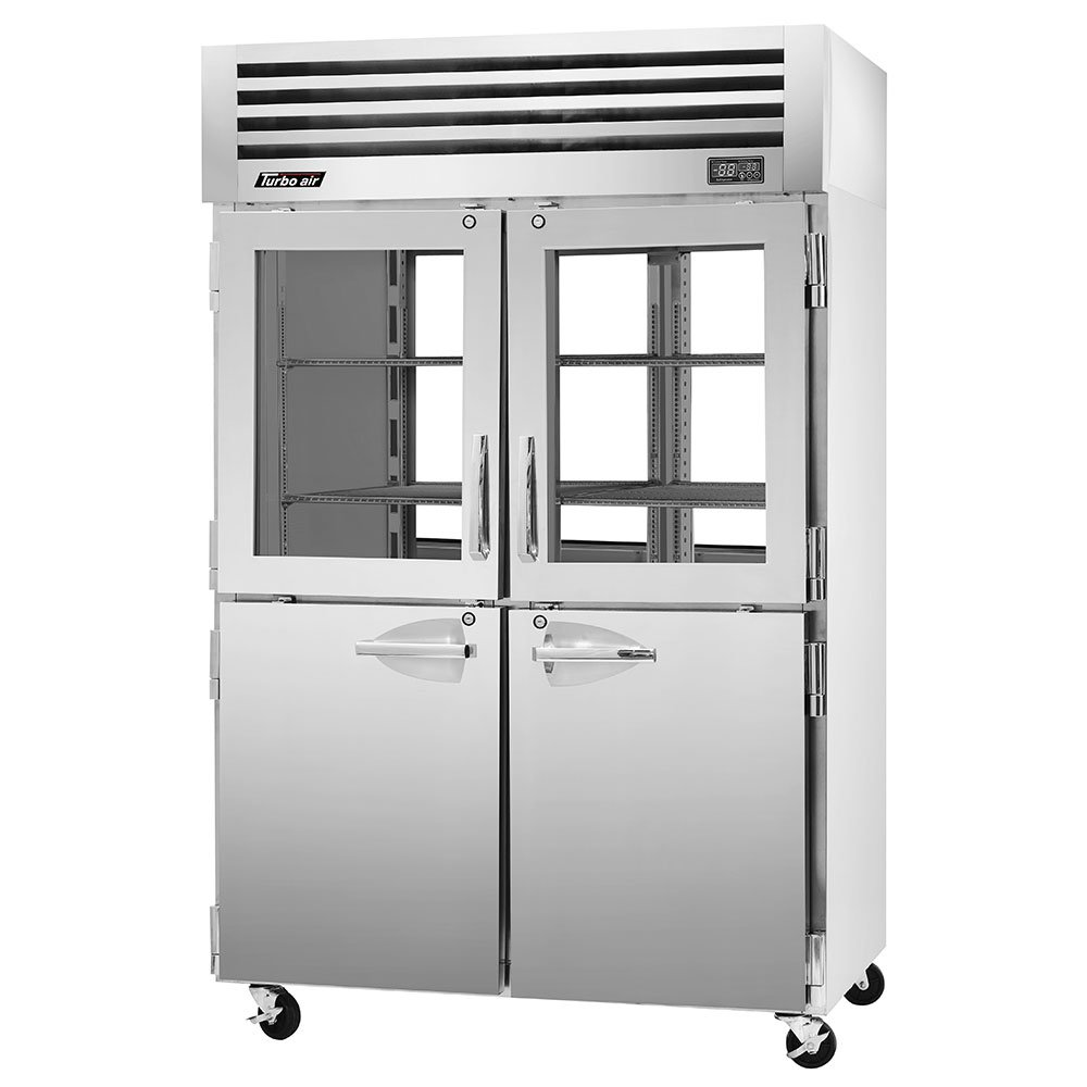 "Turbo Air PRO-50R-GSH-PT 51.75"" Two Section Pass-Thru Refrigerator, (4) Solid Doors & (4) Glass Doors, 115v"