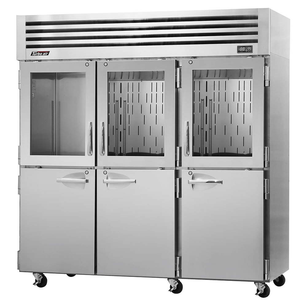 """Turbo Air PRO-77R-GSH 77.75"""" Three Section Reach-In Refrigerator, (3) Solid Doors & (3) Glass Doors, 115v"""