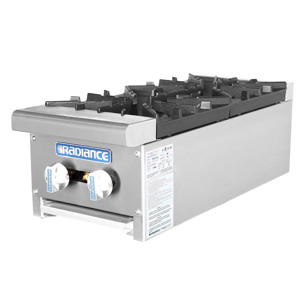 """Turbo Air TAHP-12-2 LP 12"""" Stainless Countertop Hotplate w/ Manual Controls, LP"""