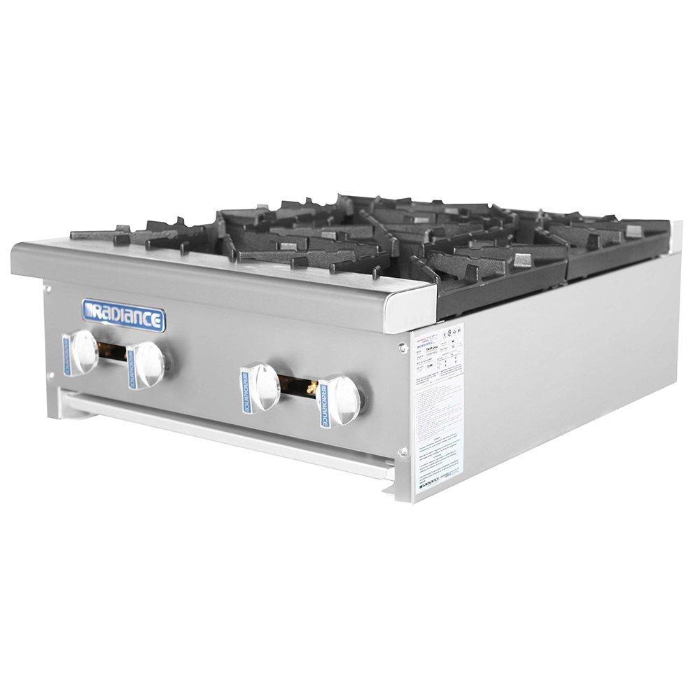 """Turbo Air TAHP-24-4 LP 24"""" Stainless Countertop Hotplate w/ Manual Controls, LP"""