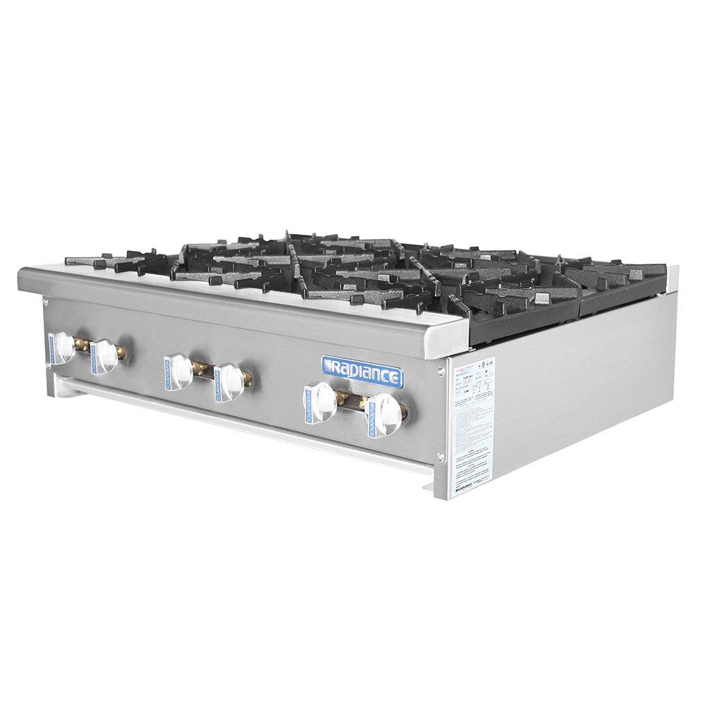"""Turbo Air TAHP-36-6 NG 36"""" Stainless Countertop Hotplate w/ Manual Controls, NG"""