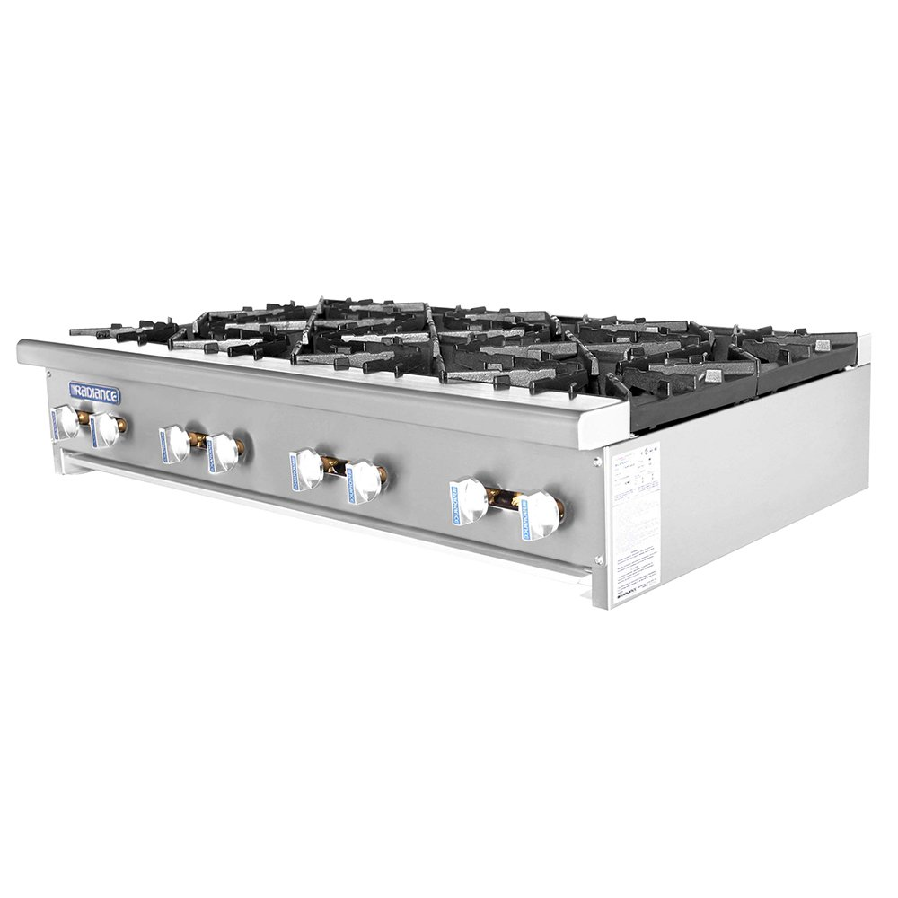 "Turbo Air TAHP-48-8 NG 48"" Stainless Countertop Hotplate w/ Manual Controls, NG"
