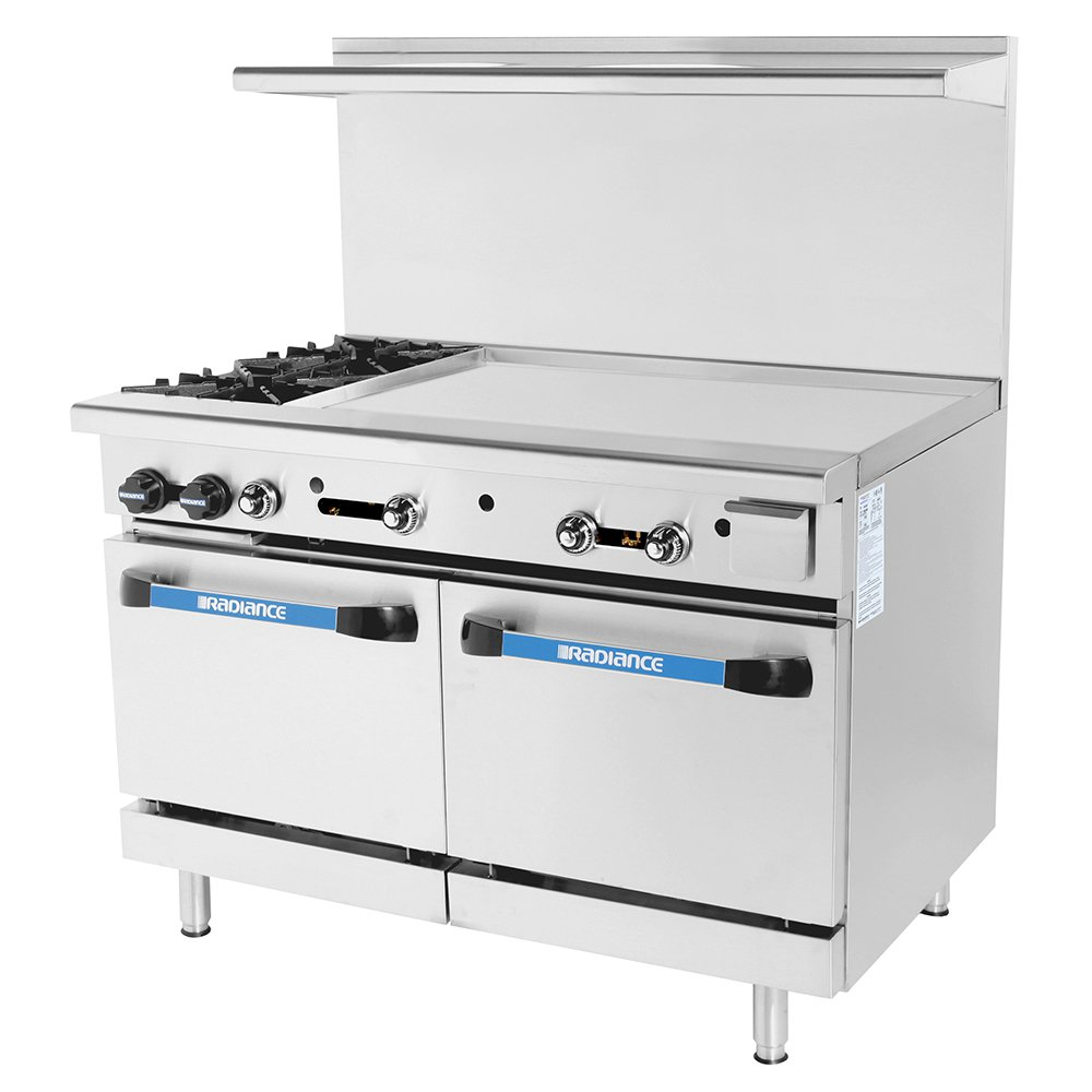 "Turbo Air TARG-2B36G 48"" 2-Burner Gas Range with Griddle, NG"