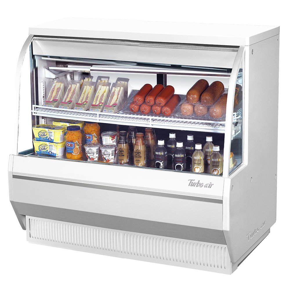 "Turbo Air TCDD-48-2-L 48.5"" Full Service Deli Case w/ Curved Glass - (2) Levels, 115v"